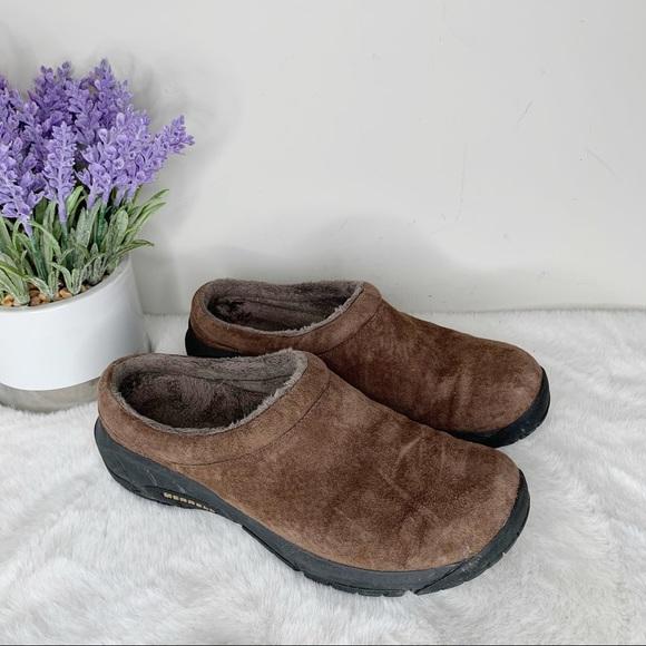 Merrell Bracken Brown Slip on Mule Shoes in Size 8
